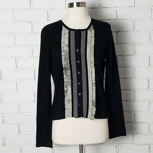 [CAbi] Black cardigan with ribbon detailing